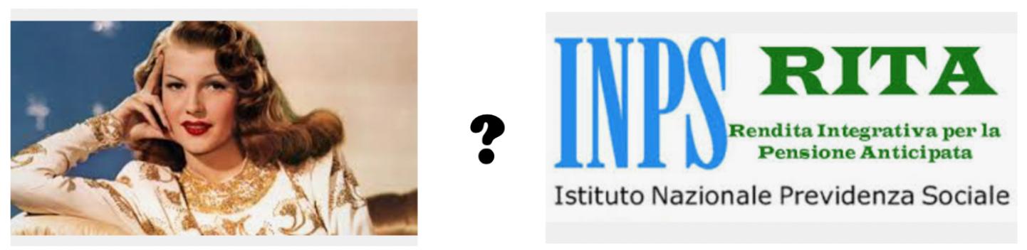 Rita Hayworth e logo dell'INPS