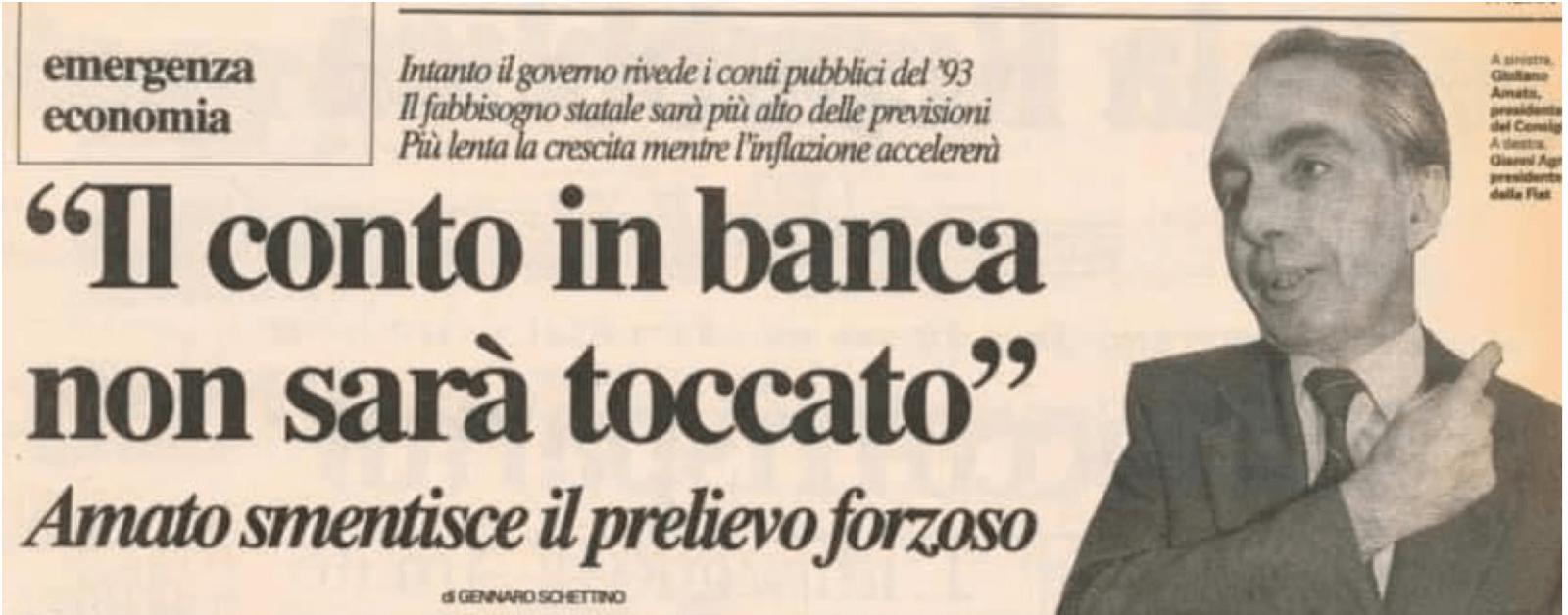 articolo de ilsole24ore del 92 la patrimoniale di Giuliano Amato